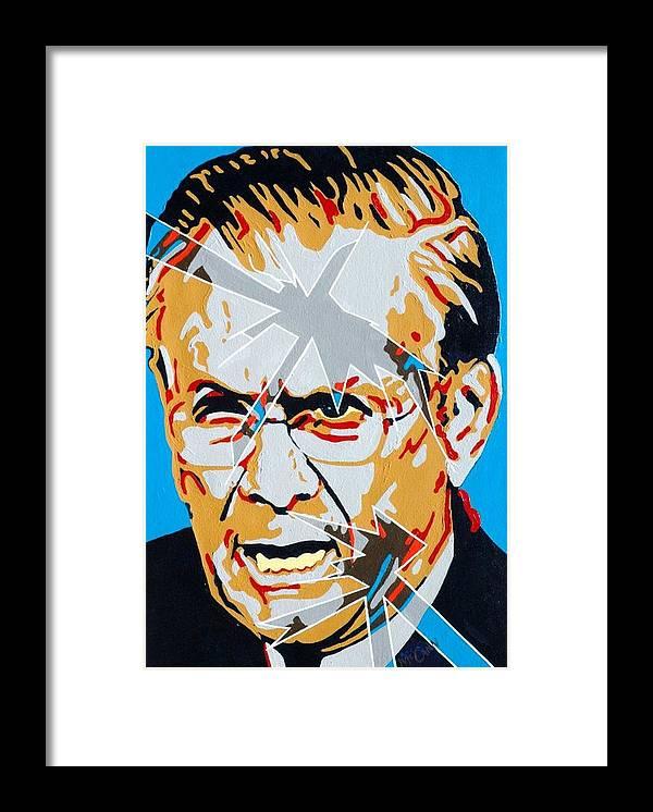 Politics Framed Print featuring the painting Rumsfeld by Dennis McCann