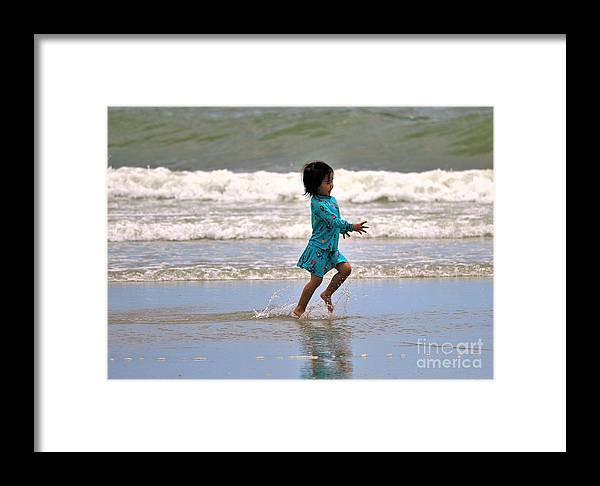 Child Framed Print featuring the photograph Run Splash Play by Diann Fisher