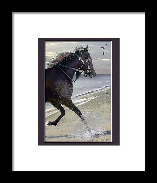 Horse; Race Horse; Animal Framed Print featuring the painting Runner Three by John Breen