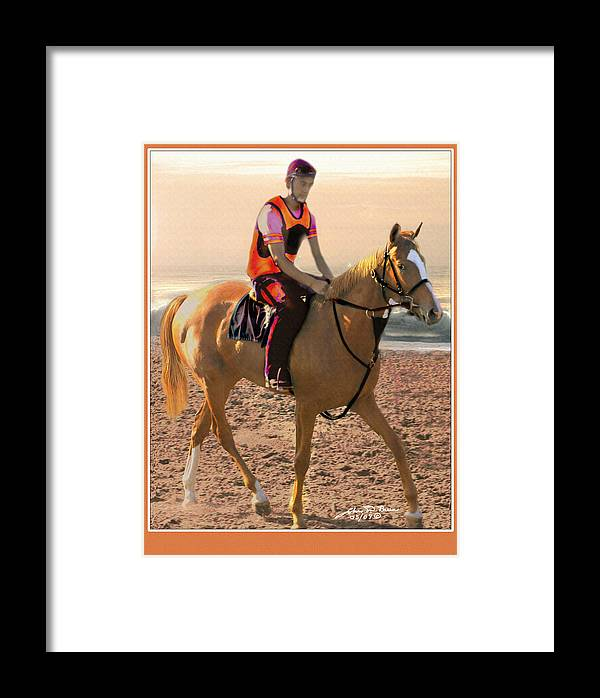 Race Horse Animal Horse And Rider Framed Print featuring the painting Runner Two by John Breen