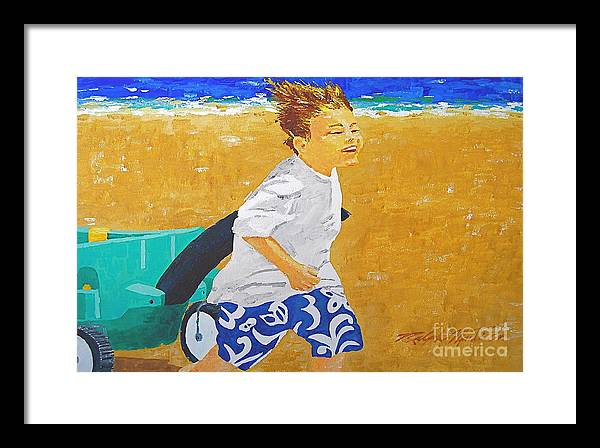 Children Framed Print featuring the painting Running Against The Wind by Art Mantia