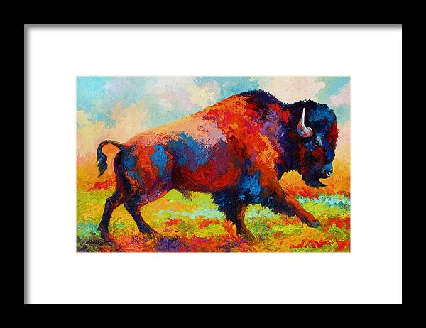 Bison Framed Print featuring the painting Running Free by Marion Rose