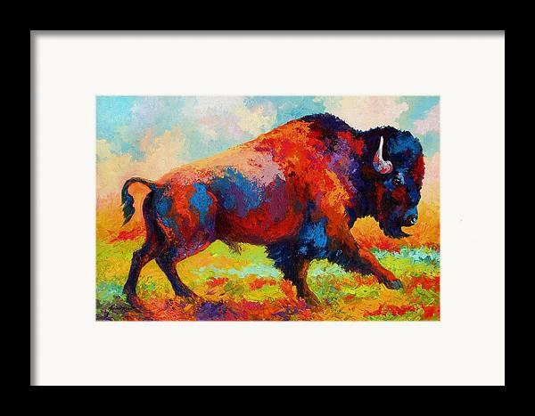 Bison Framed Print featuring the painting Running Free - Bison by Marion Rose