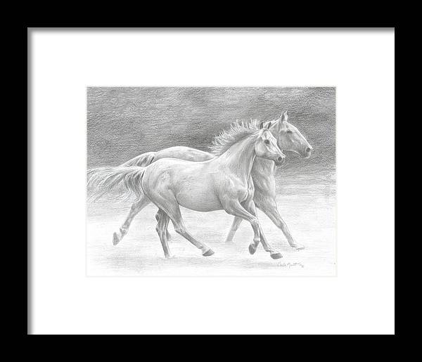 Horses Framed Print featuring the drawing Running Free by Carla Kurt