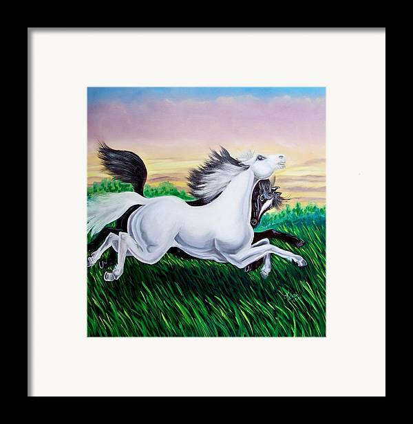 Horses Framed Print featuring the painting Running Free by Kathern Welsh