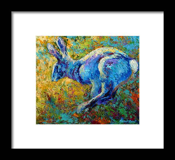 Rabbit Framed Print featuring the painting Running Hare by Marion Rose