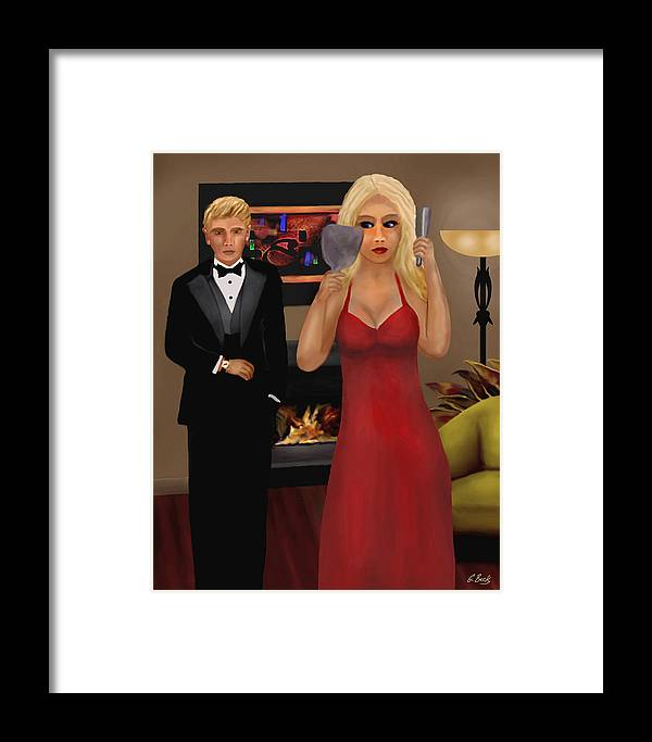 Contemporary Lifestyle Scene Blond Woman Formal Wear Apartment Fireplace G. Framed Print featuring the painting Running Late by Gordon Beck