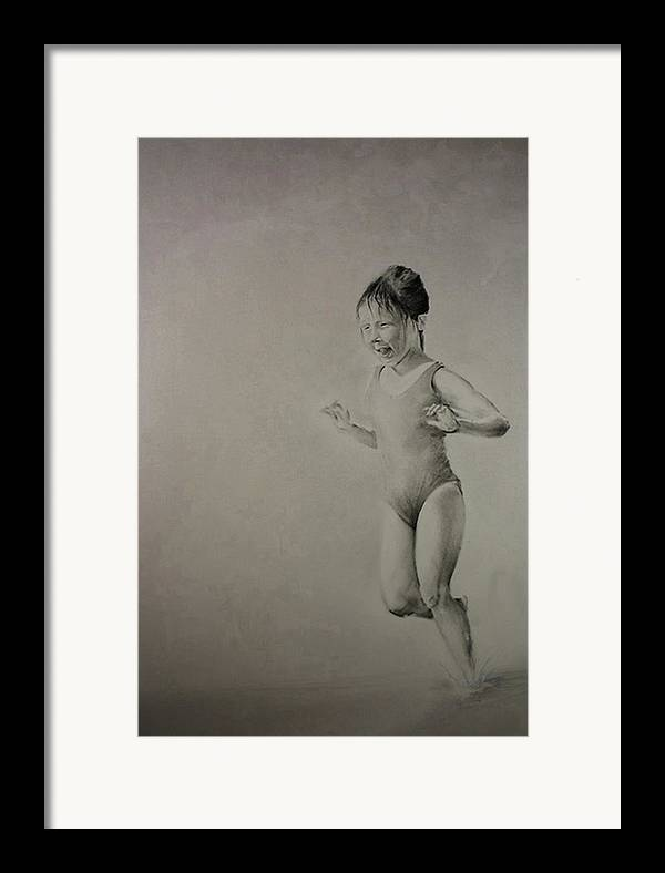 Children Framed Print featuring the drawing Running On Water by John C