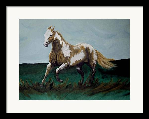 Horse Framed Print featuring the painting Running Paint by Glenda Smith