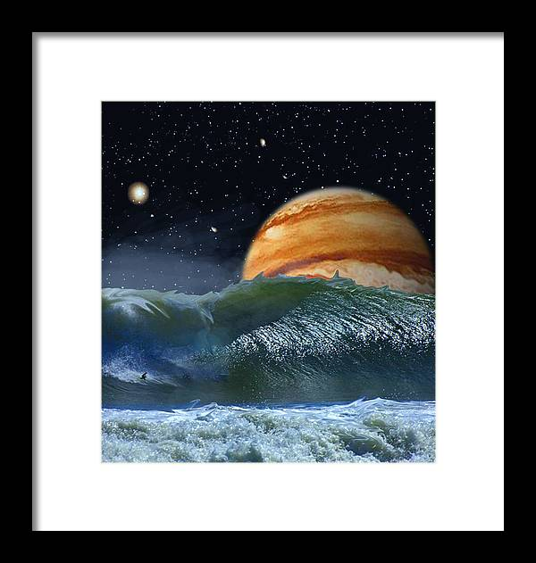 David Jackson Running The Vortex Surfing Alien Landscape Planets Scifi Framed Print featuring the digital art Running The Vortex by David Jackson