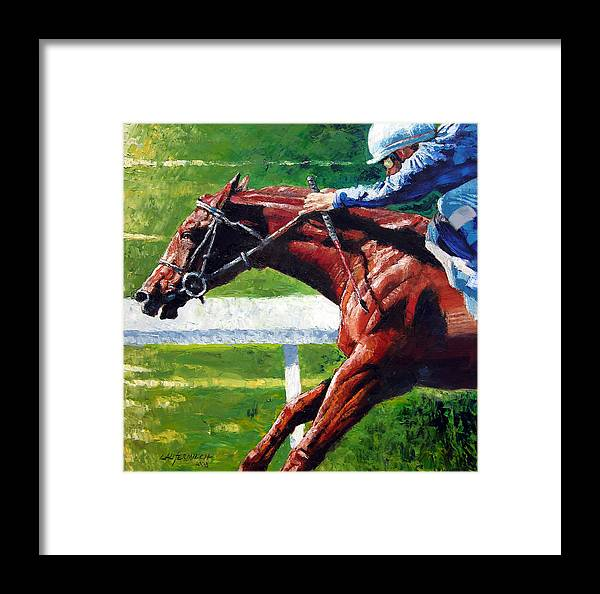 Horse Race Framed Print featuring the painting Running Towards The Light by John Lautermilch