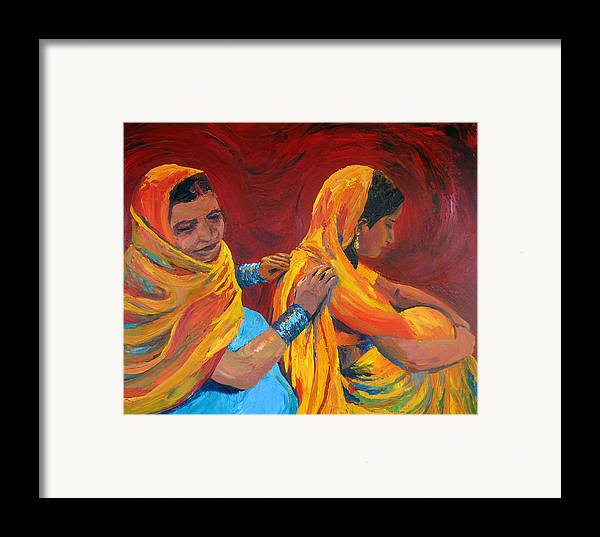 India Framed Print featuring the painting Ruppa by Art Nomad Sandra Hansen