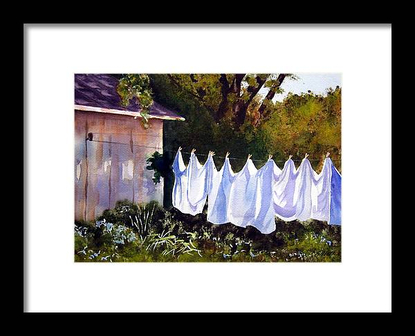 Country Framed Print featuring the painting Rural Laundromat by Marsha Elliott
