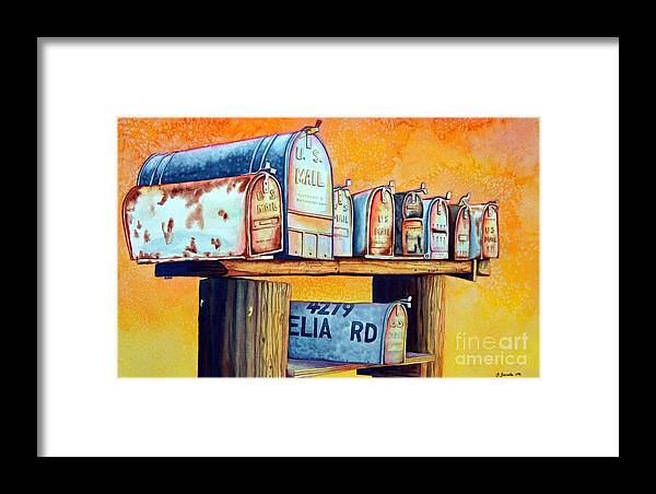 Mailboxes Framed Print featuring the painting Rural Route by Gail Zavala
