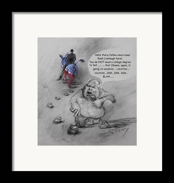 Rush Limbaugh Framed Print featuring the mixed media Rush Limbaugh After Obama by Ylli Haruni