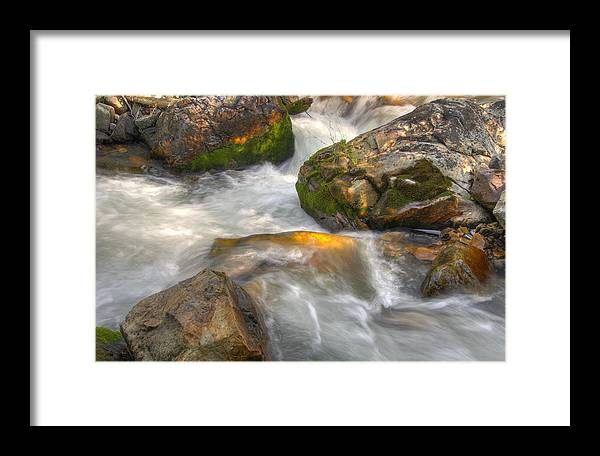 River; Stream; Creek; Rivulet; Brook; Water; Fall; Falls; Waterfall; Watercourse; Cascade; Torrent; Framed Print featuring the photograph Rushing Water 1 by Douglas Pulsipher