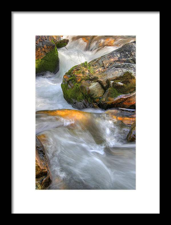 River; Stream; Creek; Rivulet; Brook; Water; Fall; Falls; Waterfall; Watercourse; Cascade; Torrent; Framed Print featuring the photograph Rushing Water 2 by Douglas Pulsipher