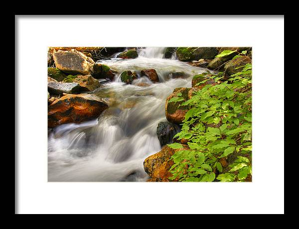 River; Stream; Creek; Rivulet; Brook; Water; Fall; Falls; Waterfall; Watercourse; Cascade; Torrent; Framed Print featuring the photograph Rushing Water 3 by Douglas Pulsipher