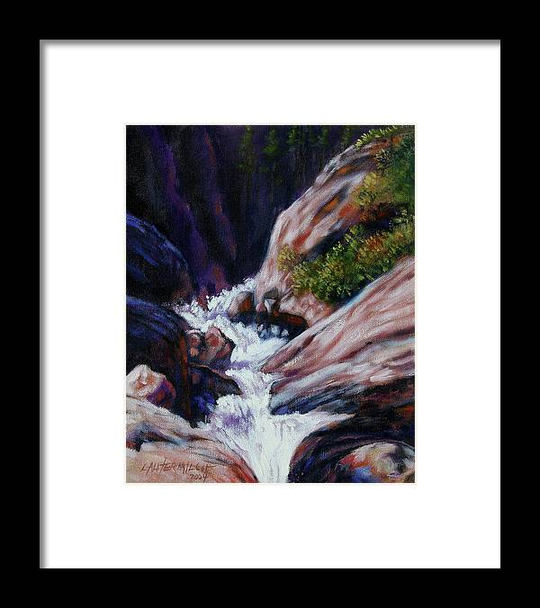 Mountain Stream Framed Print featuring the painting Rushing Waters two by John Lautermilch
