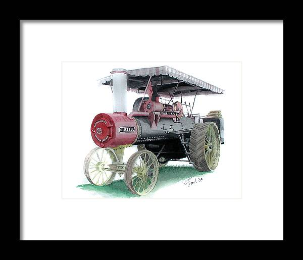 Tractor Framed Print featuring the painting Russell Steam Tractor by Ferrel Cordle