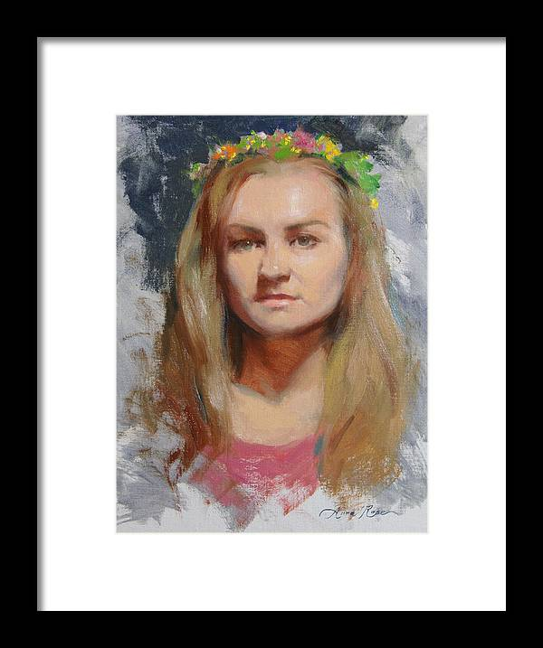 Russian Framed Print featuring the painting Russian Girl by Anna Rose Bain
