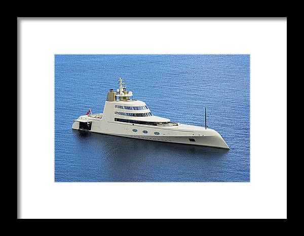 Yacht Framed Print featuring the photograph Russian Mega Yacht A - St Lucia by Chester Williams