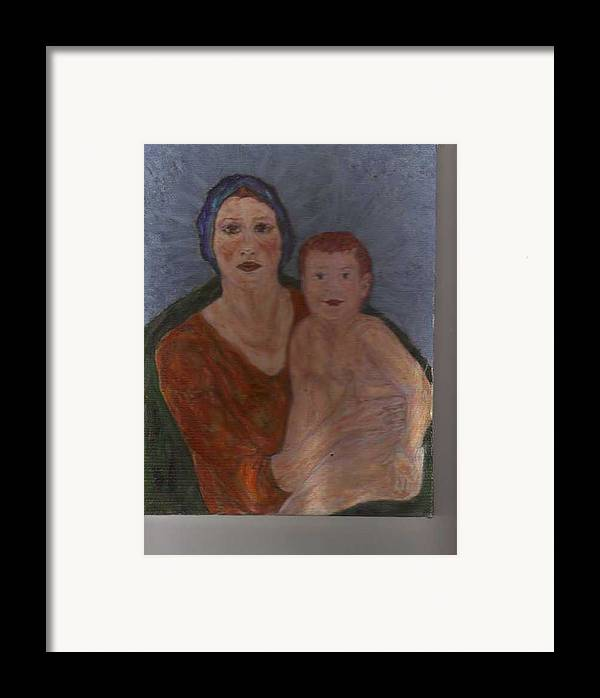 Strong Framed Print featuring the painting Russian Mother With Child by Nancy Caccioppo