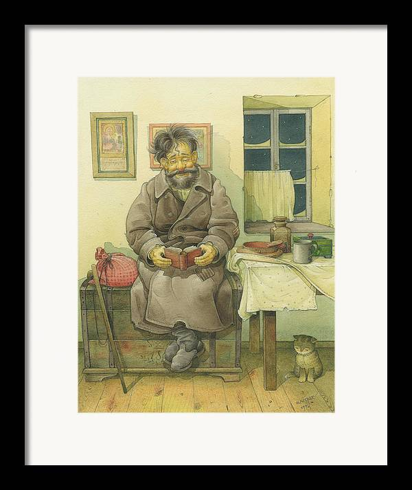 Russian Winter Framed Print featuring the painting Russian Scene 03 by Kestutis Kasparavicius