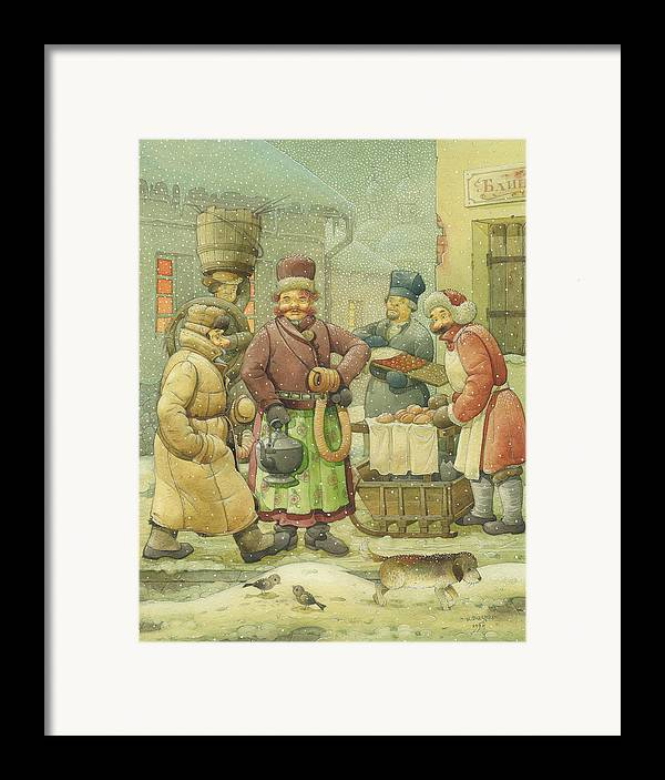 Russian Winter Framed Print featuring the painting Russian Scene 04 by Kestutis Kasparavicius