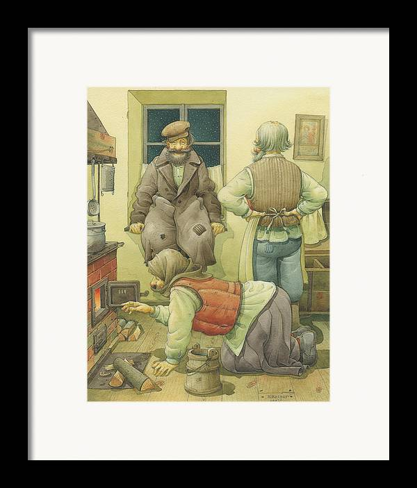 Russian Winter Framed Print featuring the painting Russian Scene 05 by Kestutis Kasparavicius