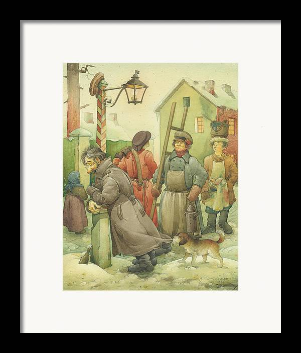 Russian Winter Framed Print featuring the painting Russian Scene 06 by Kestutis Kasparavicius