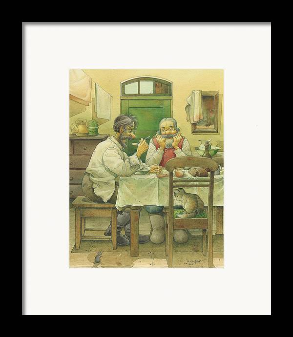 Russian Winter Framed Print featuring the painting Russian Scene 08 by Kestutis Kasparavicius