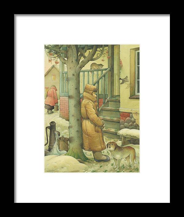 Russian Winter Cold Street Town Snow Dog Christmas Framed Print featuring the drawing Russian Scene 10 by Kestutis Kasparavicius