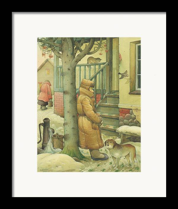 Russian Winter Framed Print featuring the painting Russian Scene 10 by Kestutis Kasparavicius