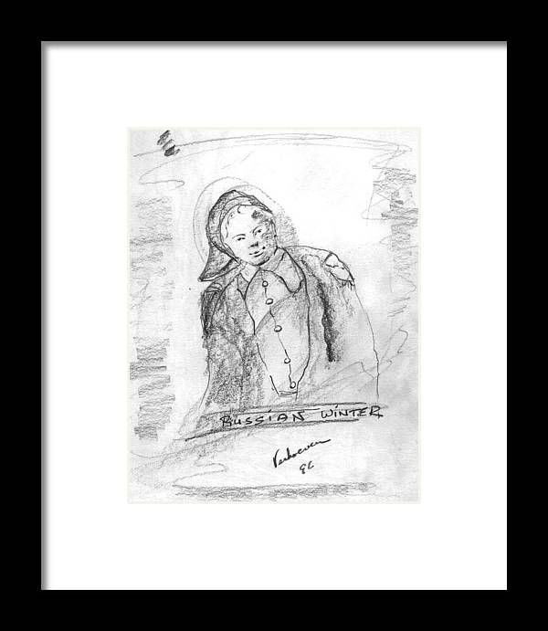 Person Signafying Season Framed Print featuring the drawing Russian Winter by Alfred P Verhoeven