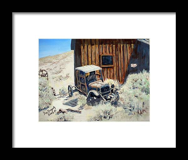 Old Dodge Bros. Truck; Berlin Framed Print featuring the painting Rust in Peace by Dan Bozich
