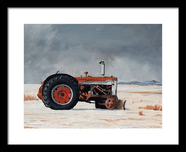 Tractor Framed Print featuring the painting Rusted Sentinel by Greg Clibon
