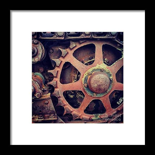 Tractor Wheel Framed Print featuring the photograph Rusted Tractor Wheel by Gregory Dyer