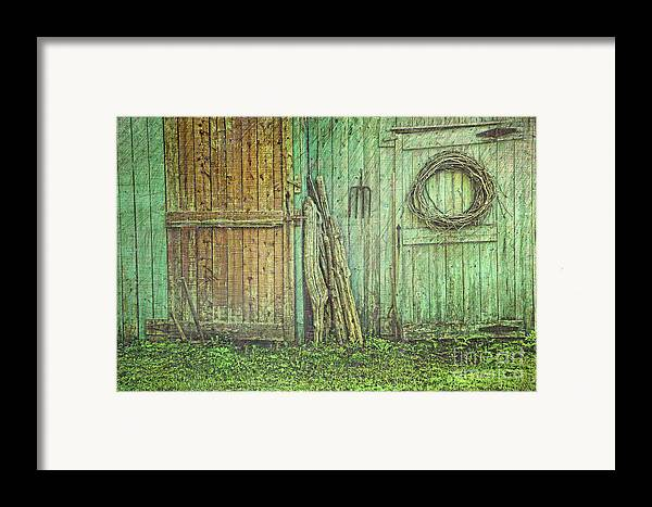 Barn Framed Print featuring the photograph Rustic Barn Doors With Grunge Texture by Sandra Cunningham