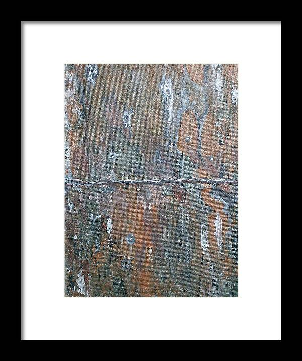 Wood Framed Print featuring the painting Rustic Barn Wood And Wire by Roy Penny