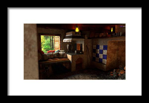 Room Framed Print featuring the digital art Rustic Cabin by Adam Simpson