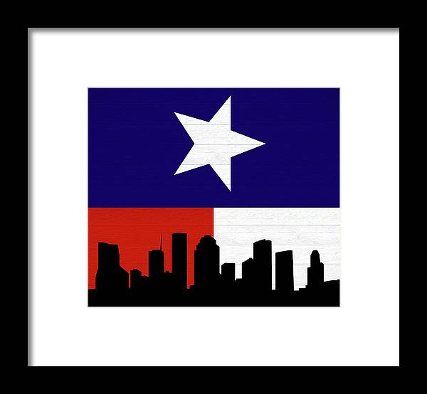 Rustic Houston Skyline Texas Flag Framed Print by Dan Sproul