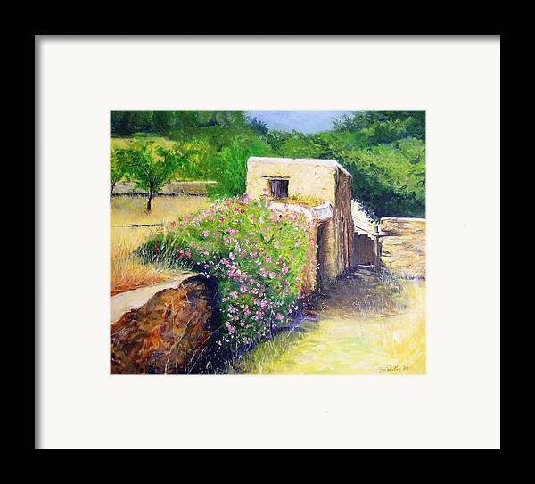 Bucolic Framed Print featuring the painting Rustic Landscape by Lizzy Forrester