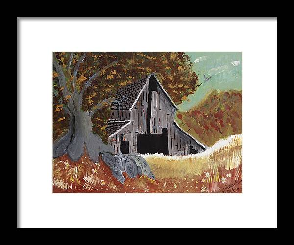 Rustic Framed Print featuring the painting Rustic Old Barn by Swabby Soileau
