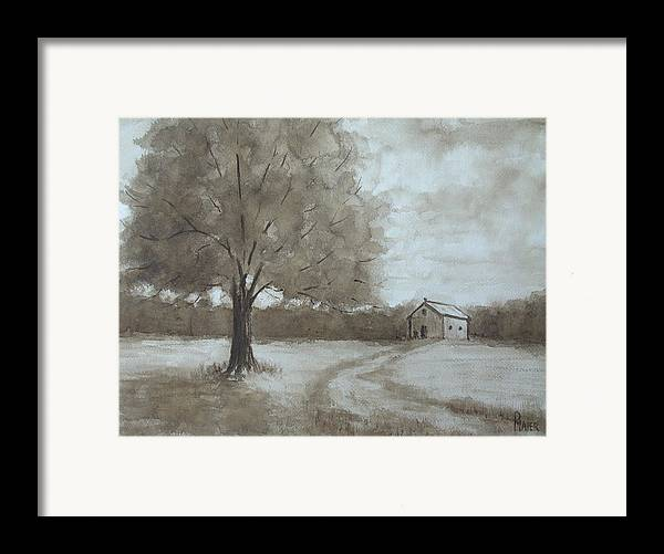 Sepia Framed Print featuring the painting Rustic Ridge by Pete Maier