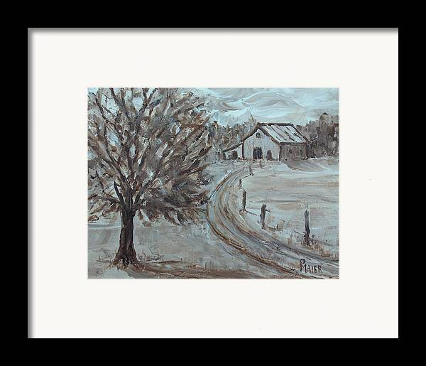 Landscape Framed Print featuring the painting Rustic Road by Pete Maier