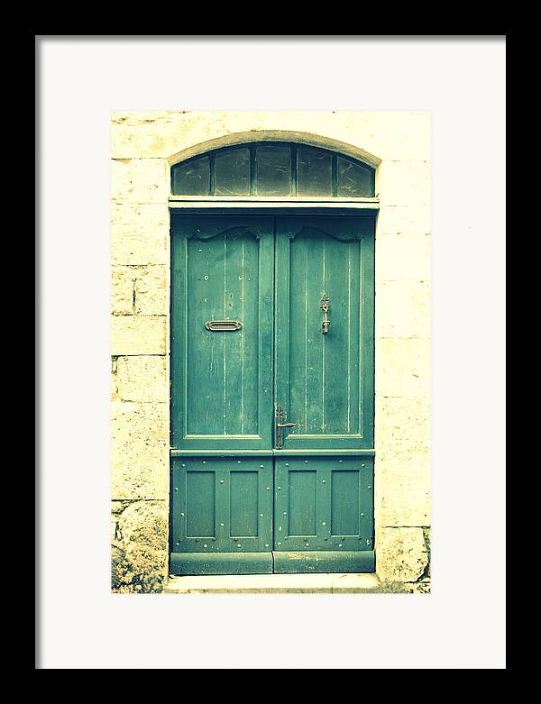 Rustic Door Framed Print featuring the photograph Rustic Teal Green Door by Georgia Fowler