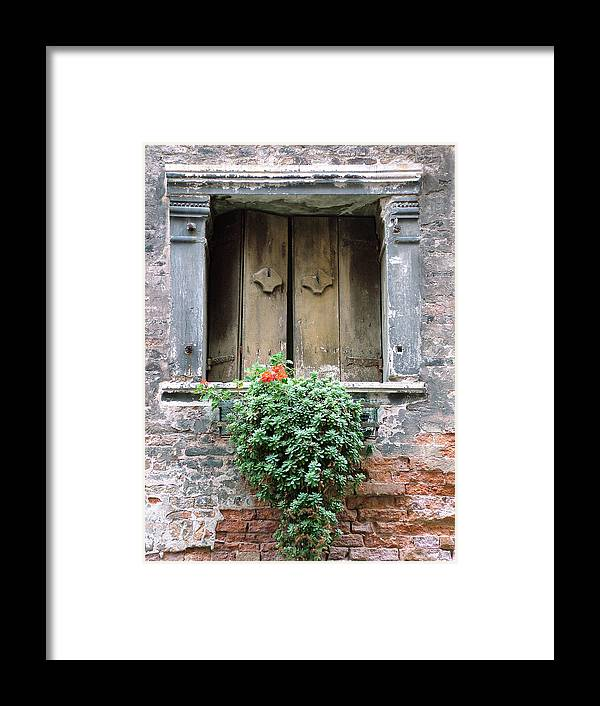 Venice Framed Print featuring the photograph Rustic Wooden Window Shutters by Donna Corless