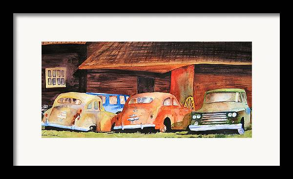Car Framed Print featuring the painting Rusting by Karen Stark
