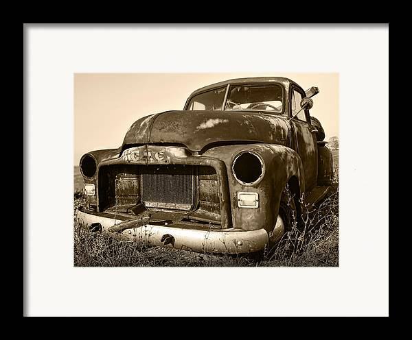 Vintage Framed Print featuring the photograph Rusty But Trusty Old Gmc Pickup by Gordon Dean II